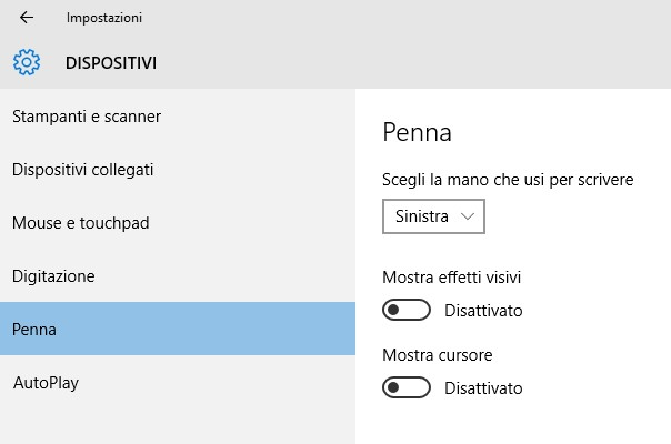 dispositivi penna windows10