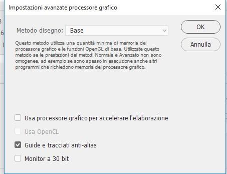 impostazioni avanzate processore grafico photoshop CC