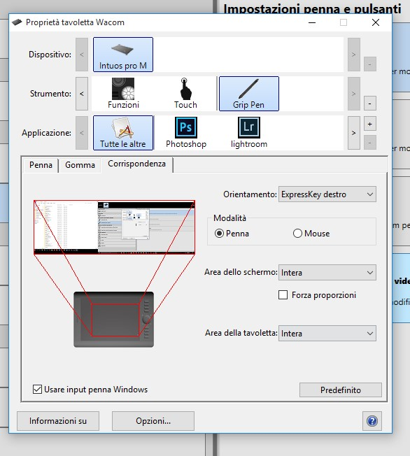 proprieta tavoletta wacom input penna windows