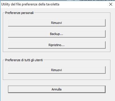 utility file preferenze tavoletta Wacom